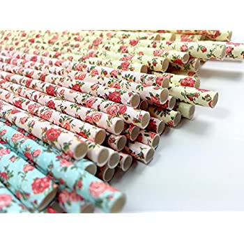 Floral Paper Straws (75 Pack) - 100% Biodegradable, Excellent Quality, Trendy & Beautiful Paper Straws for All Occasions! (Standard Size)