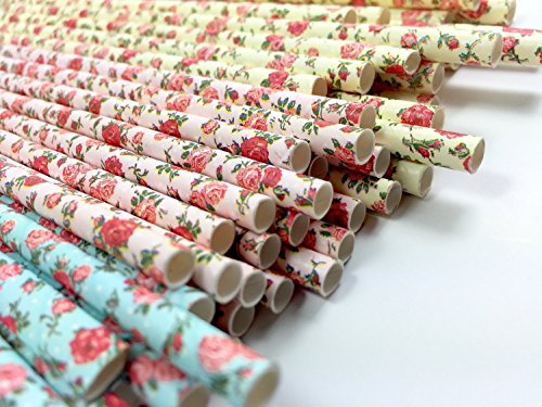 Blue Basket Garland - Floral Paper Straws (75 Pack) - 100% Biodegradable, Excellent Quality, Trendy & Beautiful Paper Straws for Birthdays, Weddings, Baby Showers, Bachelorettes, Celebrations, Parties, and More! By JPACO