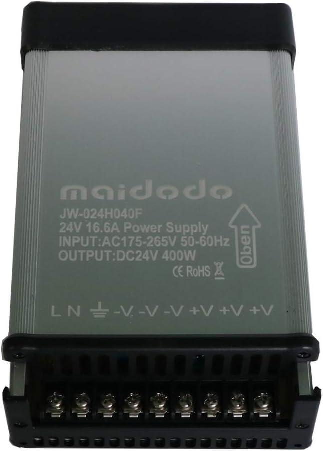 maidodo 24V 400W 16.6A Fuente de alimentación conmutada para Exteriores Adaptador de Transformador de Controlador AC 175 V- 265V IP53 a Prueba de Lluvia para CCTV/Tira de LED (24V 400W 16.6A)