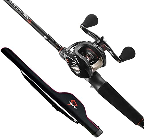 Piscifun Torrent Baitcasting Fishing Rod and Reel Combo, Low Profile Baitcaster Reel and Rod Combo with Protable Pole Storage Case Bag