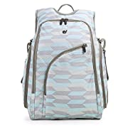 ECOSUSI Diaper Backpack Fully-opened Baby Diaper Bag with Changing Pad (Blue & Grey)