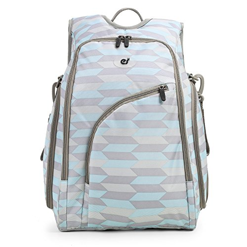 ECOSUSI Diaper Backpack Fully-opened Baby Diaper Bag with Changing Pad (Blue & (Blue Diaper Pouch)