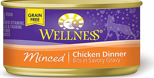 Wellness Minced Canned Cuts Chicken Adult Canned Cat Food, 3 Oz(Pack of 24)