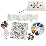 Top Plaza 7 Chakra Healing Crystal Grids Kit/Lot of 7 Chakra Tumbles, Assorted Chip Stones, Clear Quartz Crystal Wands Points Sticks, Metatron's Cube Sacred Geometry Crystal Grids Altar Cloth