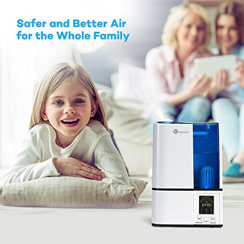 Large Product Image of TaoTronics Cool Mist Humidifier, LED Display, 4L Ultrasonic Humidifiers for Home Bedroom, with Filter, Adjustable Mist Levels, Timer, Waterless Auto Shut-off --(4L/1.06 Gallon, US 110V)