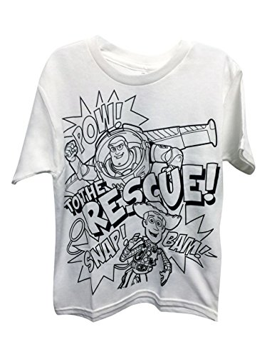 Buzz Lightyear Shirt- Officially Licensed Disney Kid's Toy Story Coloring Short Sleeve T-Shirt -White (Toy Story T Shirt)