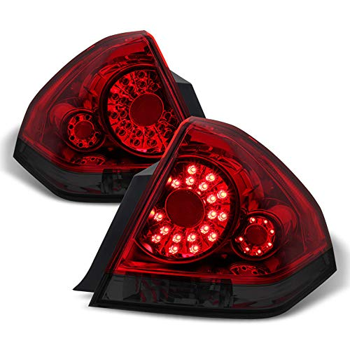 ACANII - For Red Smoked 2006-2013 Chevy Impala LED Tail Lights Rear Brake Lamps Left+Right