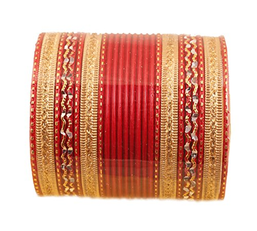 Touchstone New Colorful 2 Dozen Bangle Collection Indian Bollywood Alloy Metal Textured Hot Red Designer Jewelry Special Large Size Bangle Bracelets Set of 24 in Antique Gold Tone for Women