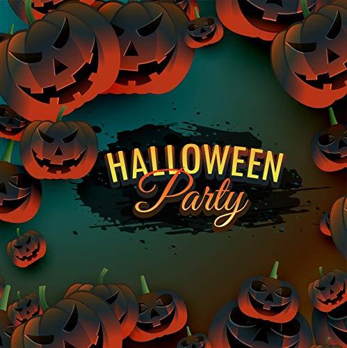 DaShan 4x4FT Halloween Backdrop Black Ink Pumpkins Horror