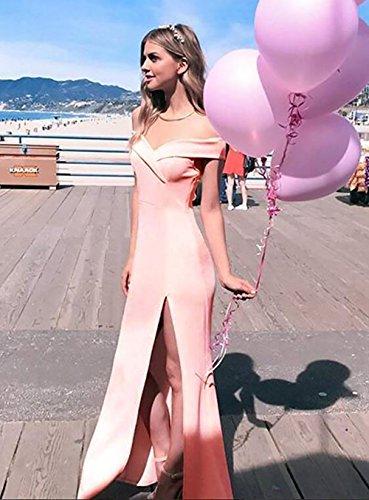 Celebración Verano Aberturas Coctel Vestido De Slim De Con Vestidos Mujer Moda Vestidos Largos Rosa Gala Sólido Fiesta Noche Bodas Hombro Sin Elegantes Color Para wf7RZqx7Y