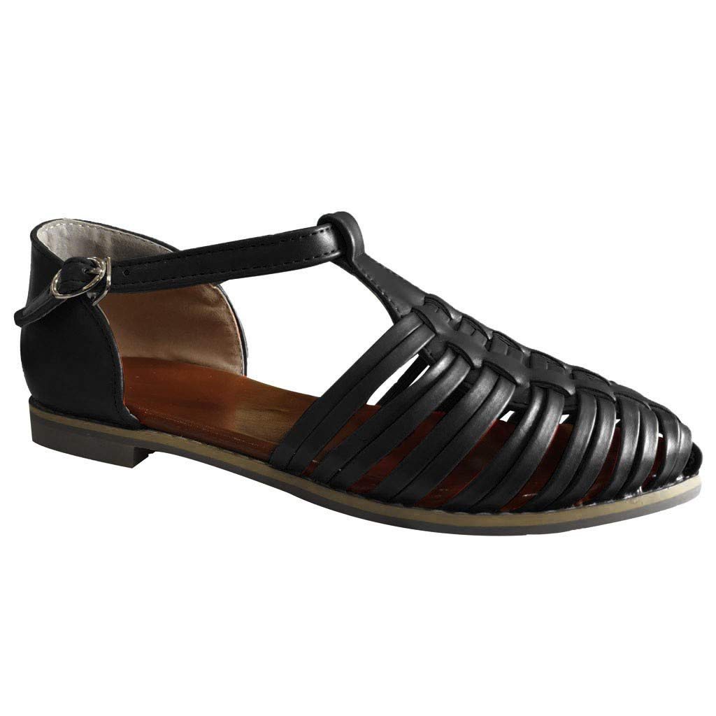 Women's Closed Toe Sandals Breathable Cage Strappy Flats Platform Casual Buckle Strap Shoes Beach Walk Shoes Size 5-9 (Black, US:5.5) by Aritone - Shoes