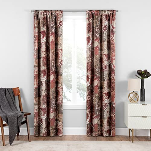 ECLIPSE Room Darkening Curtains for Bedroom – Chiswick 37 x 84 Thermal Insulated Single Panel-Rod Pocket Light Blocking Curtains for Living Room, Tuscan