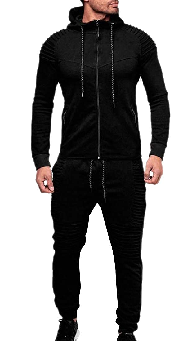 Zimaes-Men Relaxed-Fit Pleated Tracksuit Top Sweatpants 2 Piece Set