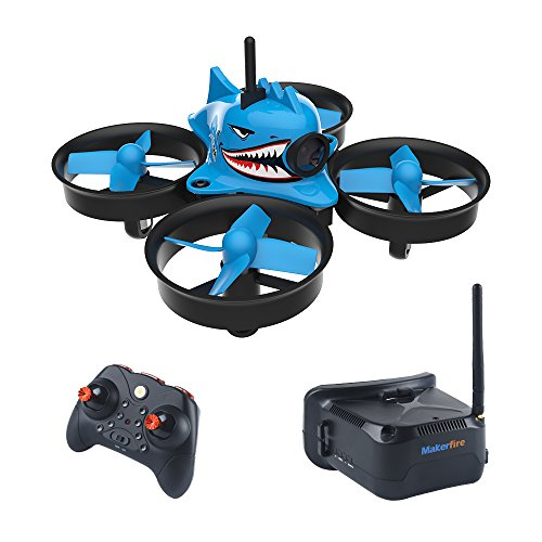 Makerfire-Micro-FPV-Racing-Drone-with-FPV-Goggles-58G-40CH-1000TVL-Camera-RTF-Tiny-Whoop-Mini-FPV-Quadcopter-for-BeginnersAltitude-Hold-One-Key-Return-Headless-Mode-Armor-Blue-Shark