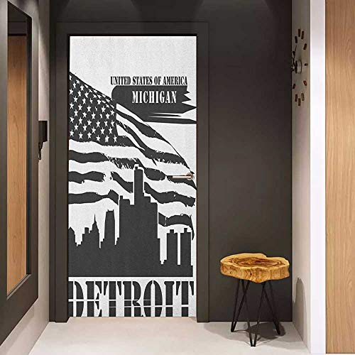 Onefzc Automatic Door Sticker Detroit Monochrome Grunge City Silhouette American Flag United States Michigan Easy-to-Clean, Durable W17.1 x H78.7 Charcoal Grey White