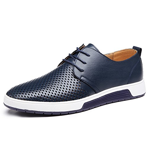 YING LAN Men's Fashion Casual Flat Sneakers Dress Formal Business Wedding Breathable Oxford Shoes Blue 1 by YING LAN