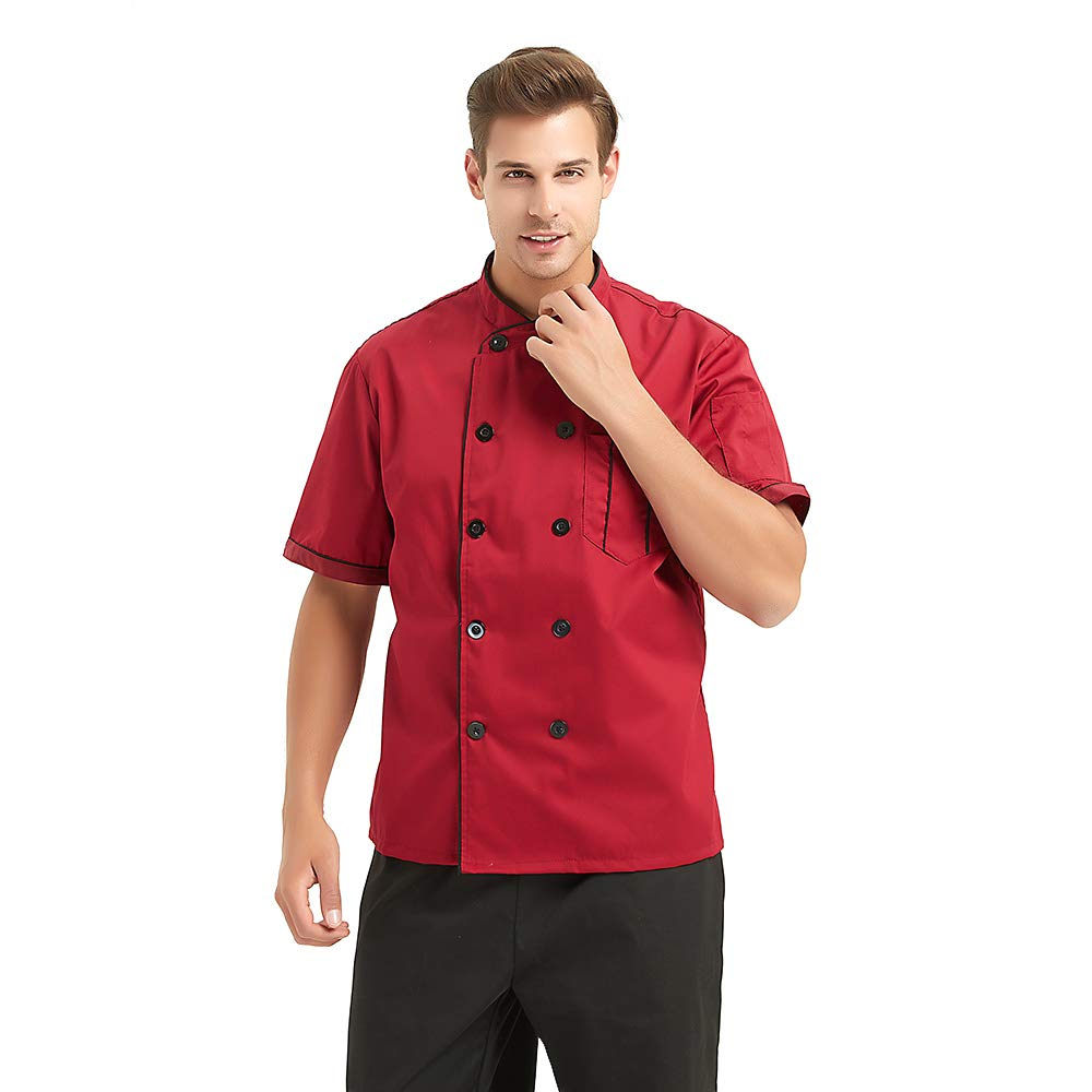 TopTie Unisex Short Sleeve Chef Coat Jacket-Red2-M