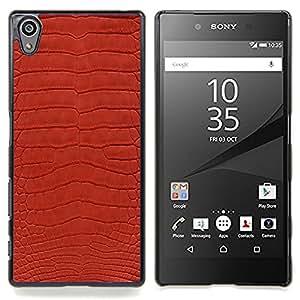 Eason Shop / Premium SLIM PC / Aliminium Casa Carcasa Funda Case Bandera Cover - Textura Dise?o Textil Rojo Patrón de arte - For Sony Xperia Z5 5.2 Inch (Not for Z5 Premium 5.5 Inch)