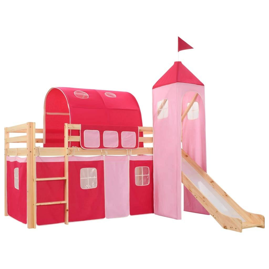 vidaXL Childrens Loft Bed Frame with Slide /& Ladder Kids Toddler Pirate-themed Cot Crib Playing Sleeping Furniture Pinewood 97x208cm