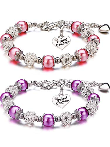 2 Pieces Granddaughter Bracelets Charm Heart Pendant Rhinestone Crystal Balls Faux Pearls Jewelry Gift (Pink A + Purple A)