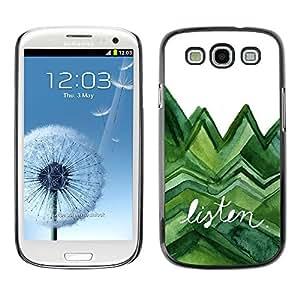 Paccase / SLIM PC / Aliminium Casa Carcasa Funda Case Cover para - Listen Trees Green Watercolor Lizard White - Samsung Galaxy S3 I9300