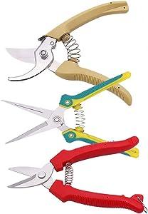 MIMI HOME Garden Shear Pruning,3 Pack Gardening Shears Set, Stainless Steel Sharp Garden Scissors,Pruner Secateurs with Ergonomically Design Handle,Garden Tools for Garden Clippers.