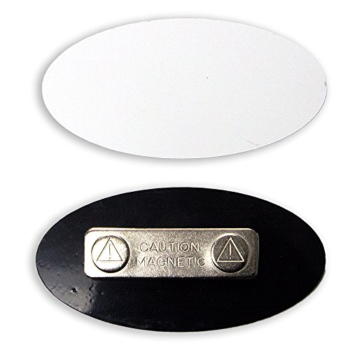 Badge Oval (Oval Name Badge Blanks with Magnet - 10 Pack (White))