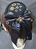 Vintage Steampunk Gear Bee Bowknot Black Mini Top Hat Gothic Lace Lolita Cosplay Hat