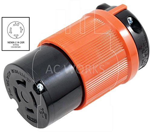 AC WORKS [ASL1420R] NEMA L14-20R 20Amp 125/250Volt 4Prong Locking Female Connector With UL, C-UL Approval by AC WORKS (Image #1)