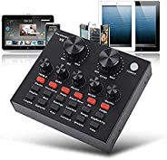 V8 Live Sound Card,Mini Bluetooth Voice Changer Device for Phone/Computer,Sound Mixer Board with Multiple Funn