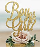 BOY OR GIRL Gold Glitter Cake Topper Baby Shower New Party Boy Oh Baby Ready To PopGirl Welcome Home