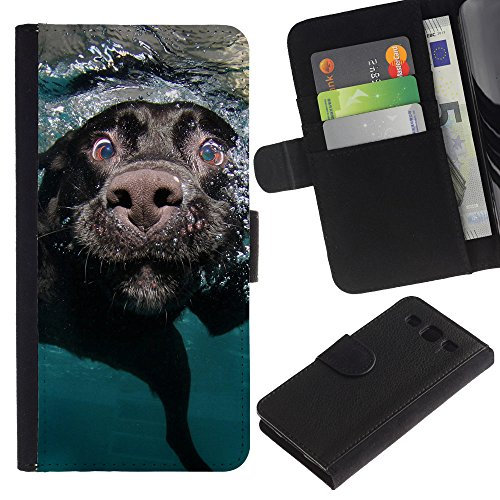 EuroCase - Samsung Galaxy S3 III I9300 - black Labrador retriever muzzle dog - Cuero PU Delgado caso cubierta Shell Armor Funda Case Cover