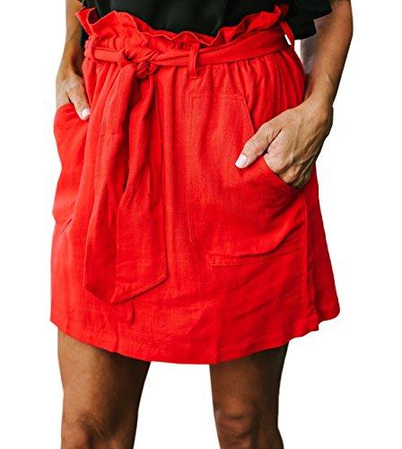 t Femme Jupe avec Bandage Court Jupe de Plage Fashion Couleur Unie Taille Haute Jupes de Fte Soire Rouge
