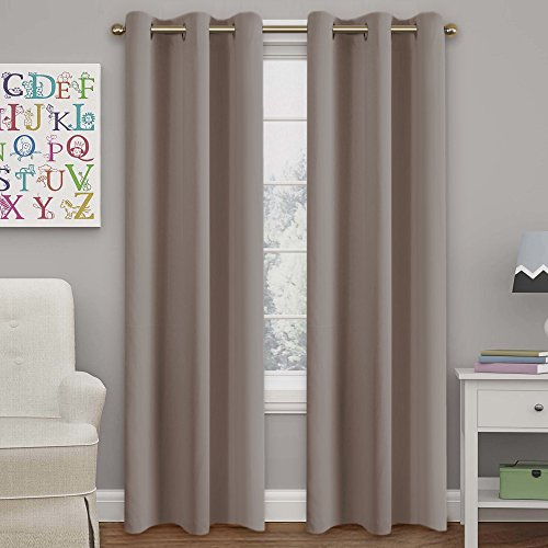 Turquoize Solid Blackout Drapes, Room Darkening, Mushroom, Themal Insulated, Grommet/Eyelet Top, Nursery/Living Room Curtains Each Panel 42
