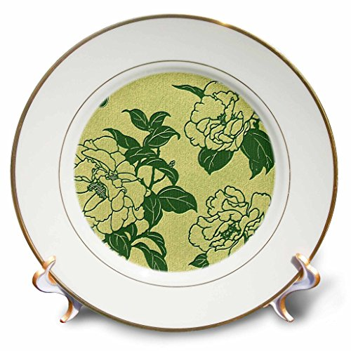 Russ Billington- Beautiful China Series - Elegant Chinese Floral Design in Green Tonal Shades - 8 inch Porcelain Plate (cp_238794_1)