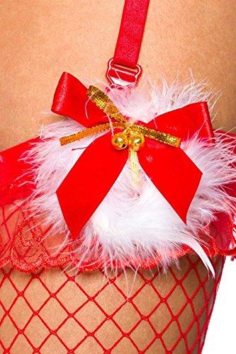 Roter Weihnachts Body mit Fell und Kapuze Monokini inklusive Strapsbänder
