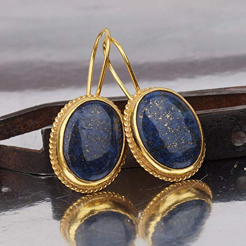 - Anatolian Handcrafted Turkish Lapis Drop Earrings 24k Gold Over 925 k Silver By Omer