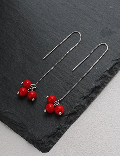 Generic Republic Korea,_minimalist_cinnabar_stone_long_beads,_ear-personality_wild_strawberry-su_ earrings Earring eardrop _ear-ear_ jewelry girl