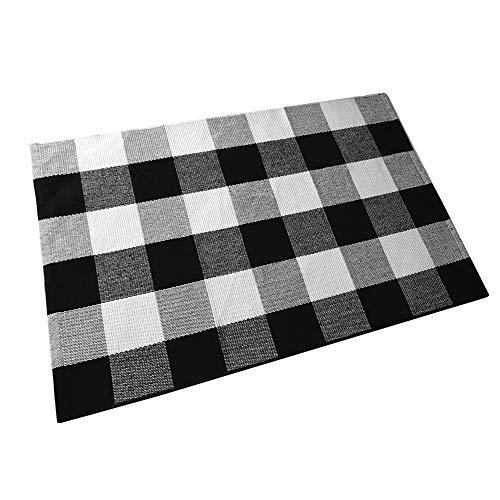 Ukeler Buffalo Plaid Rug 100% Cotton Porch Rugs Black and White Checkered Plaid Door Mat Hand-Woven Washable Rag Rug Floor Mat Outdoor Decor, 23.5'' × 35.4'' -