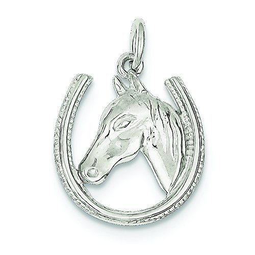 - .925 Sterling Silver Horseshoe with Horse Head Charm Pendant