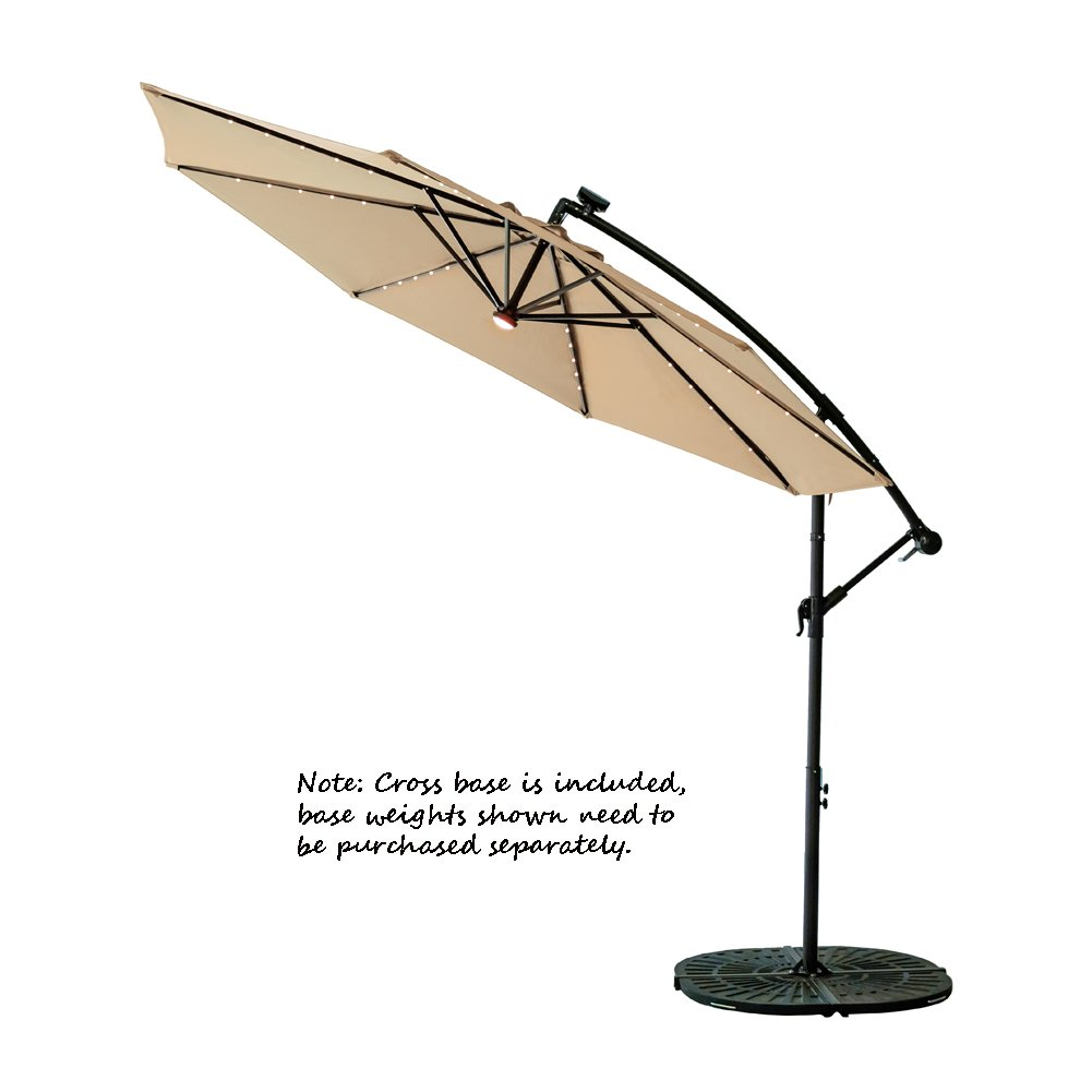 C-Hopetree 10ft Solar Power LED Offset Cantilever Patio Umbrella, Hanging Outdoor Umbrella with LED Lights, Crank Winder, Large Round, Beige by C-Hopetree (Image #3)