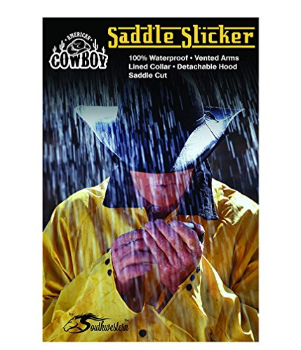 - Southwestern Equine American Cowboy Saddle Slicker - Rain Coat PVC Duster Wind Waterproof Full Length Light Weight (Black, Medium)