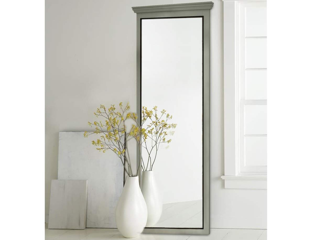 loft24 merry spiegel grau wandspiegel 62x150 cm ha ngespiegel badspiegel holzspiegel flur garderobe kiefer holz rechteckig