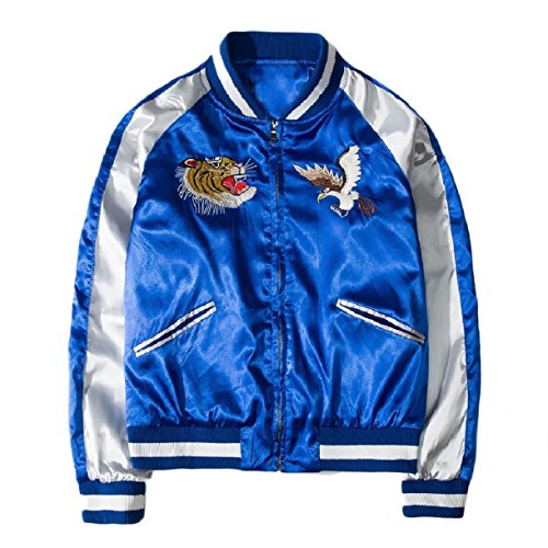 SportsX Mens Full Zip Retro Embroidered Satin Mandarin Collar Jacket Blue ()