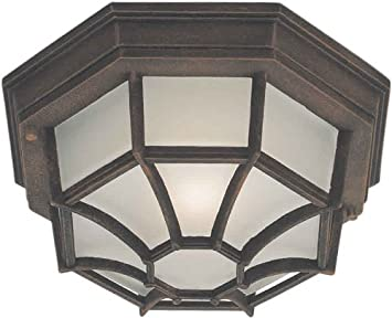 Forte Lighting 1718-01-28 Outdoor Flush Mount with Satin White Glass Shades, Painted Rust