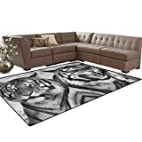 Safari,Carpet,Cat Expression Opposite Images Fearsome Teeth Mirror Angry Intense Wildlife,Home Decor Area Rug,Pale Grey Black Size:5'x6'