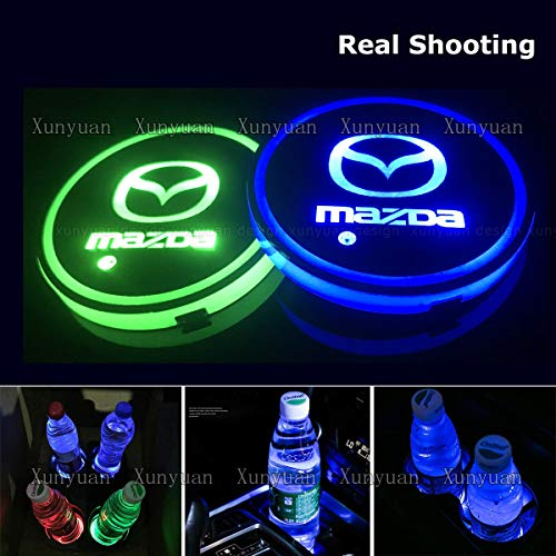 Xunyuan 2 pcs LED Car Logo Cup Holder Lights Coaster USB Charging 7 Colors Changing Auto Luminescent Cup Pad LED Interior Atmosphere Lamp Decoration Lights Accessories (Mazda)