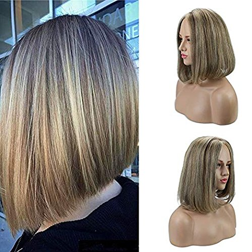 Ugeat 10inch 130% Density Mono Top Lace Front Wig Natural Hair #2/5/613 Highlight Color Brown Mixed Blonde Pre-plcked Brazilian Remy Human Hair Wigs Natural Looking - Mono Half Wig