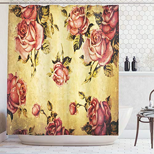 Ambesonne Roses Decorations Shower Curtain, Old-Fashioned Victorian Style Rose Pattern with Dramatic Color Boho Art Design, Fabric Bathroom Set with Hooks, 69W X 70L Inches, Mustard Pink