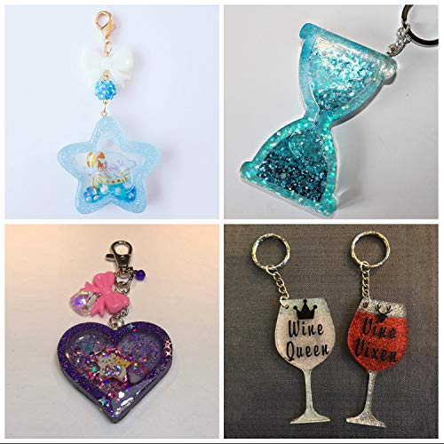 UV Resin Molds LET'S RESIN Kawaii Resin Shaker Mold, Crystal Silicone Molds, Epoxy Resin Molds with Square, Heart, Star, Hourglass, Seashell, Wine Glass, Perfume Bottle, Beaker Glass Molds